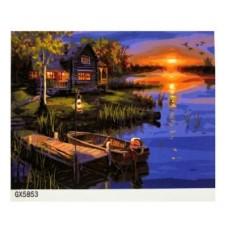 Картина по номерам 40х50, Вечерний пруд.