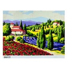 Картина по номерам 40х50, Цветочные поля.